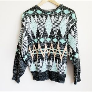 1980s graphic knit top